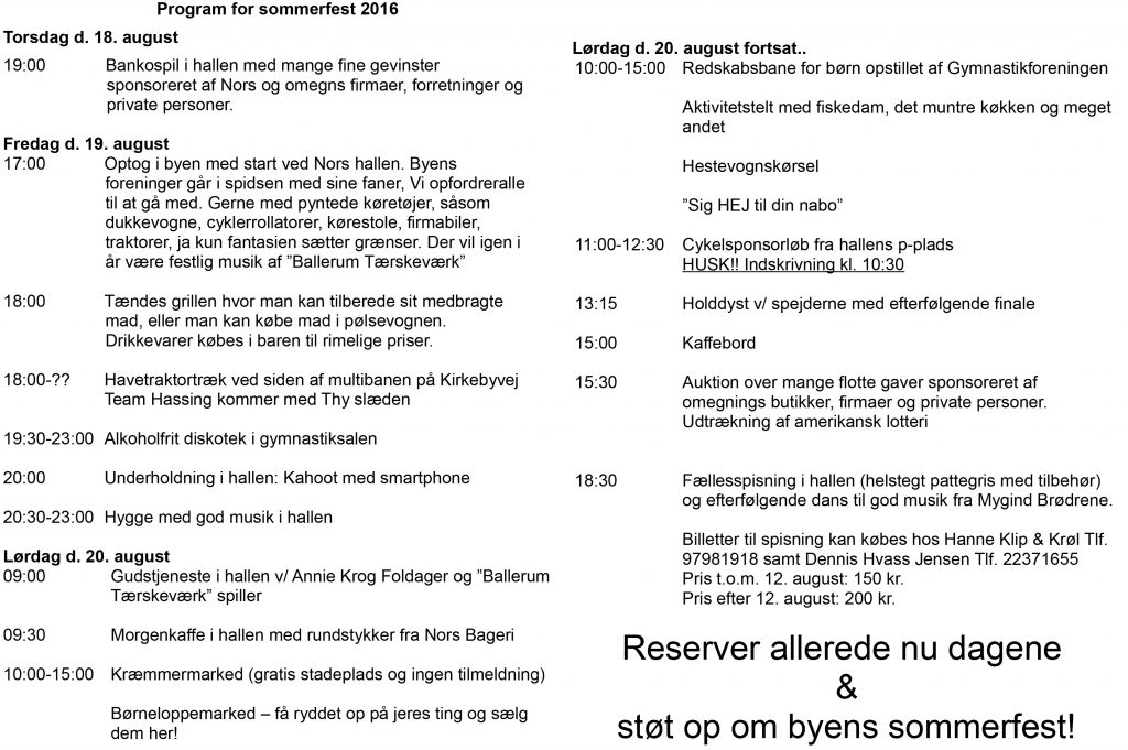 Program for sommerfest